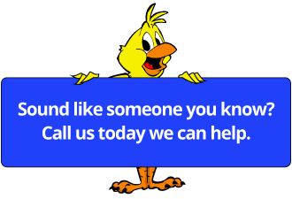 canary holding a sign that says sound like someone you know? Call us today we can help